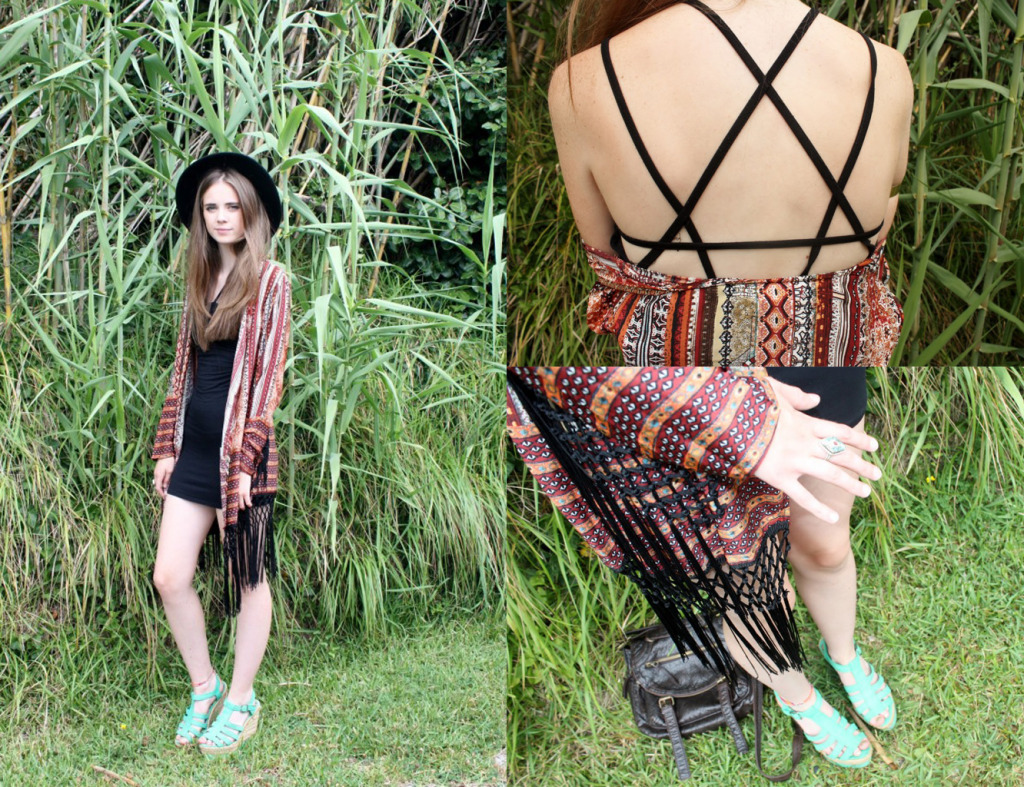 Fringed kimono and jungle leaves