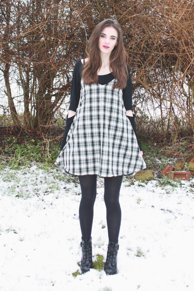 DIY pinafore in the snow