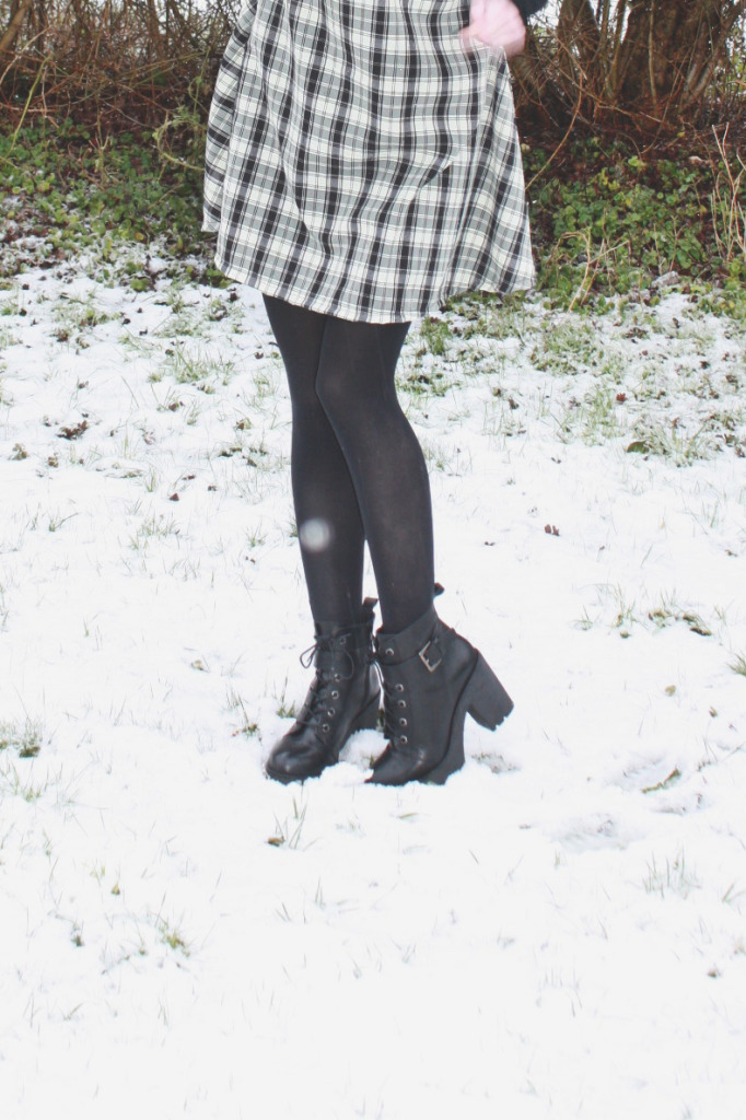 Lace up boots in the snow