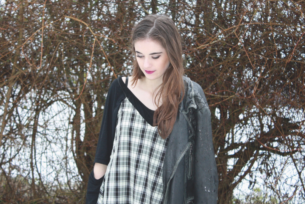 Handmade pinafore and leather jacket