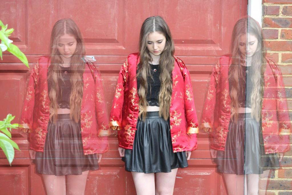 Red kimono and leather skirt