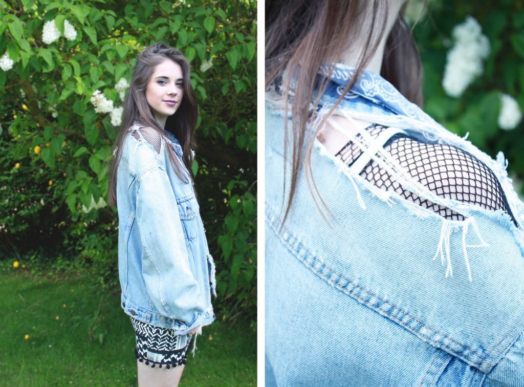 Denim jacket fishnet outfit