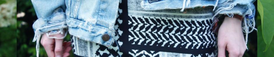 Boho scarf print skirt denim outfit