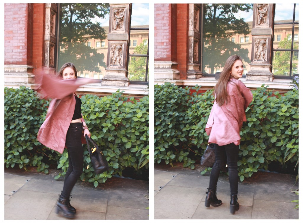 Dusty pink kimono all black outfit